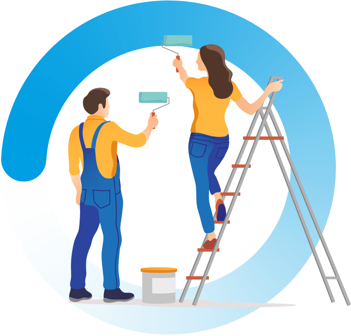 A man and woman stood on a stepladder painting a wall with rollers